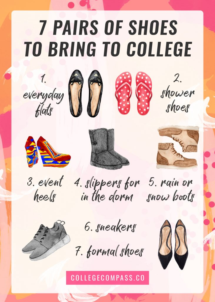 The 7 pairs of shoes you should bring to college — love this! Definitely don't forget the shower shoes!