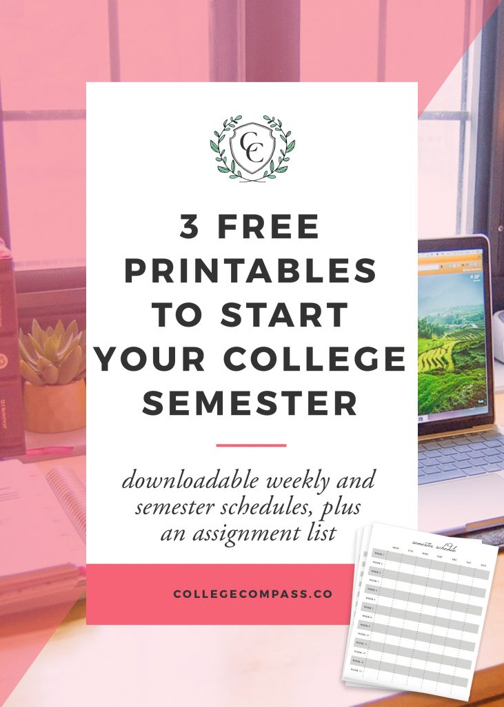 3 Free Printables for Starting Your College Semester